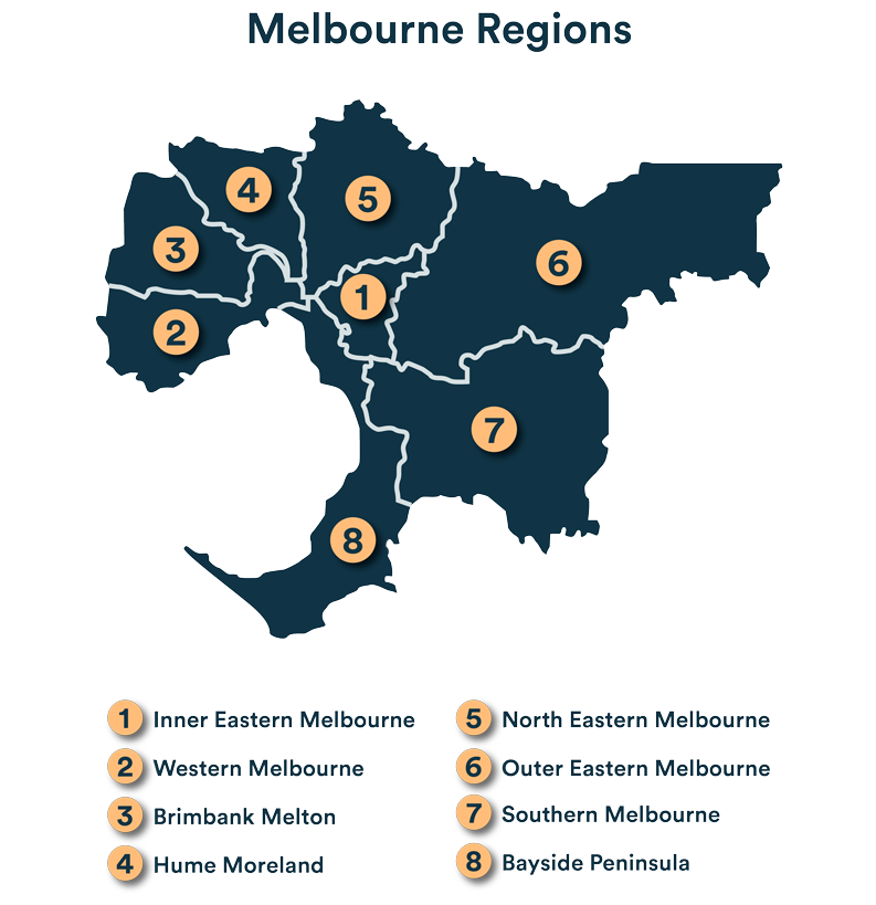 Melbourne regions map